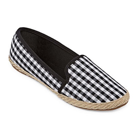Shoes - Black & White Gingham Slip On Espadrille NEW SZ 9